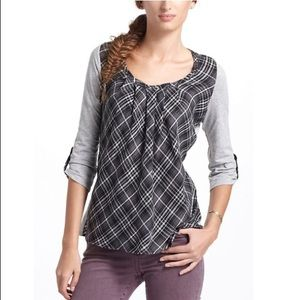 ANTHROPOLOGIE ONESEPTEMBER Gray Centered Plaid Top